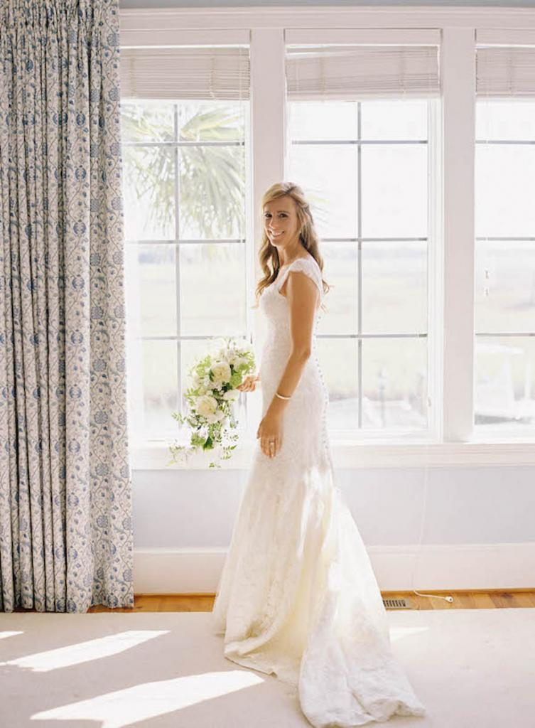 Bride's gown by Monique Lhuillier (available locally at Maddison Row). Florals by Blossoms Events. Hair by Stuart Laurence Salon. Makeup by Kelly Martuscello. Photograph by Tec Petaja.