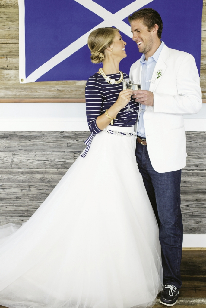 SUIT UP: A tulle skirt from Gown Boutique of Charleston made her top from Target wedding-worthy while a sports coat from Charleston Tuxedo dressed up his Levis.