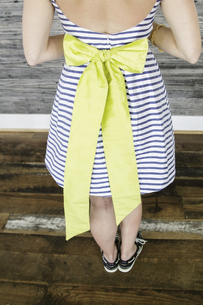 MERRY MAID: An oversized bow gave this sailor striped LulaKate bridesmaid frock a feminine touch.