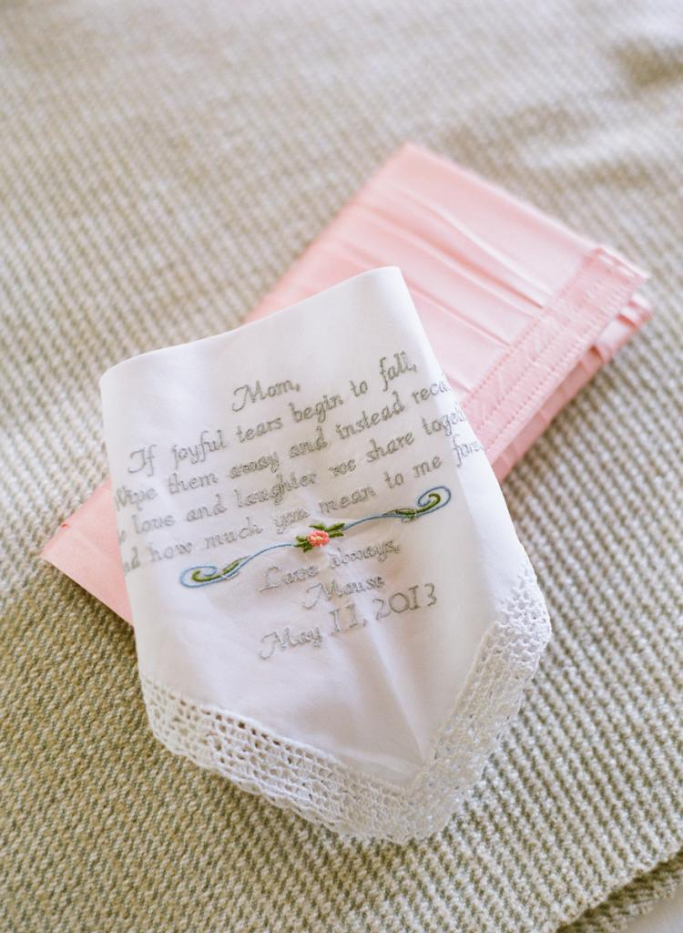 NEW-FOUND HEIRLOOM: Liz's great-grandmother embroidered a handkerchief for Liz's mom with a special message from the bride.