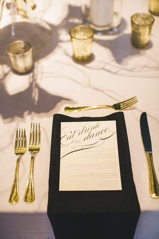 Menu by Minted. Linens from Nüage Designs. Photograph by Hyer Images.