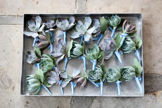 FLOWER MAN: Succulent boutonnieres from stems were pinned to the men's poplin suits from M. Dumas & Sons.
