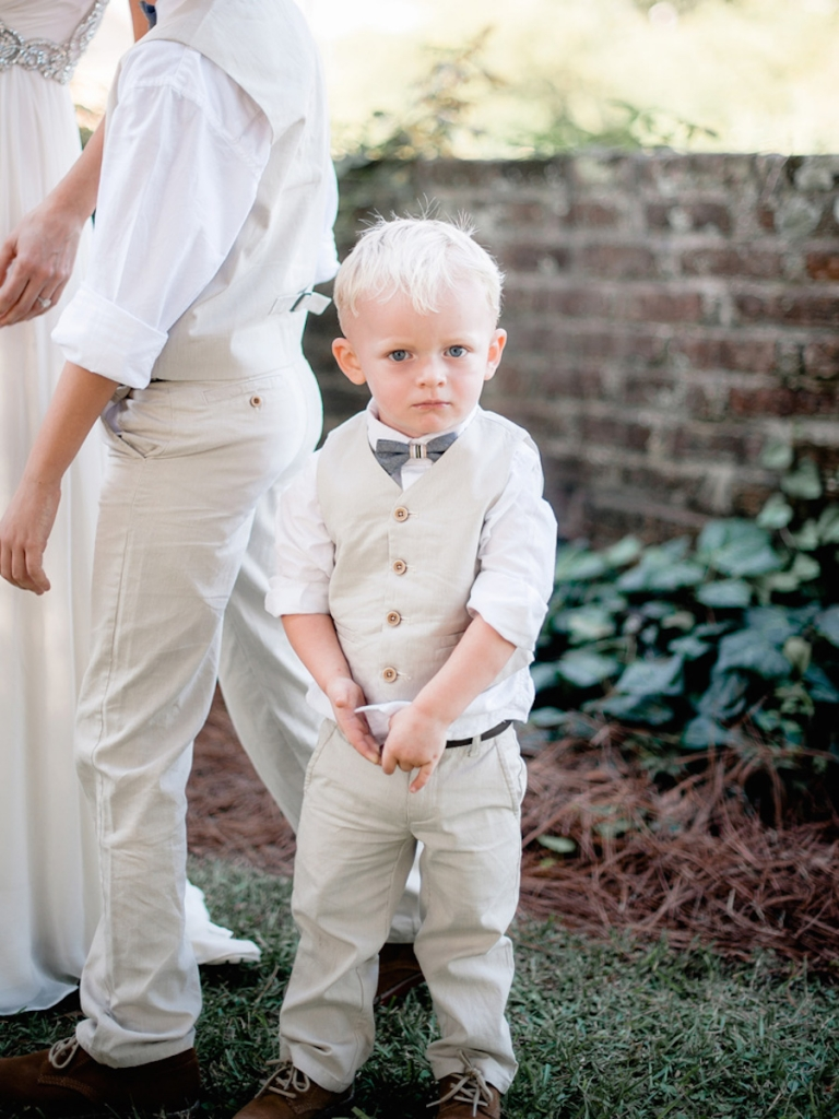 Ring bearer's ensemble by Janie & Jack. Image by Brandon Lata Photography at Boone Hall Plantation and Cotton Dock.
