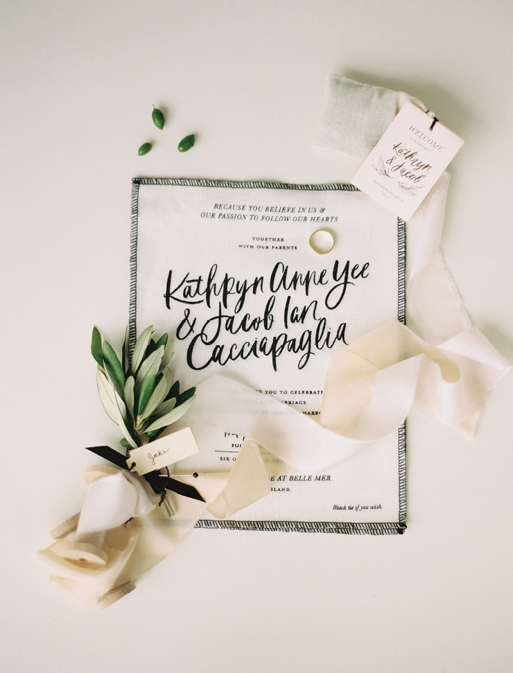 Trend: Unique Materials //  Linen Invitation & Design: The Everyday Co. //  Calligraphy: Chelsea Petaja //  Image: Brumley & Wells