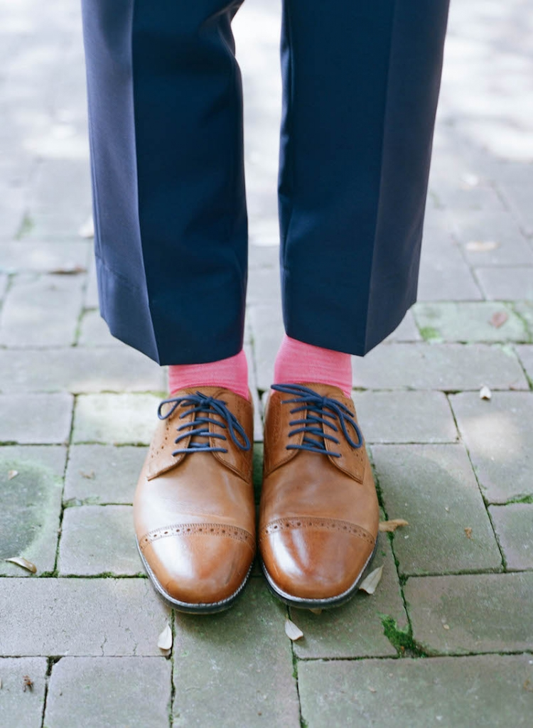 Socks by Charles Tyrwhitt. Suit from My.Suit. Shoes by Cole Haan. Photograph by Elizabeth Messina.