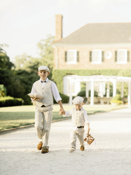 Ring bearers' ensembles by Janie & Jack. Image by Brandon Lata Photography at Boone Hall Plantation and Cotton Dock.
