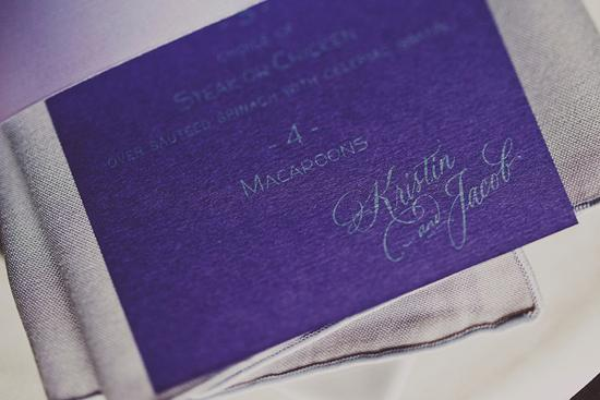 FOR NAME'S SAKE: Kris and Jacob embossed their name logo on the purple menu.