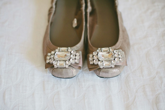 TWINKLE TOES: Underneath the full skirt of her Mori Lee ball gown, Ruth wore a stylish pair of taupe flats with rhinestone bows.
