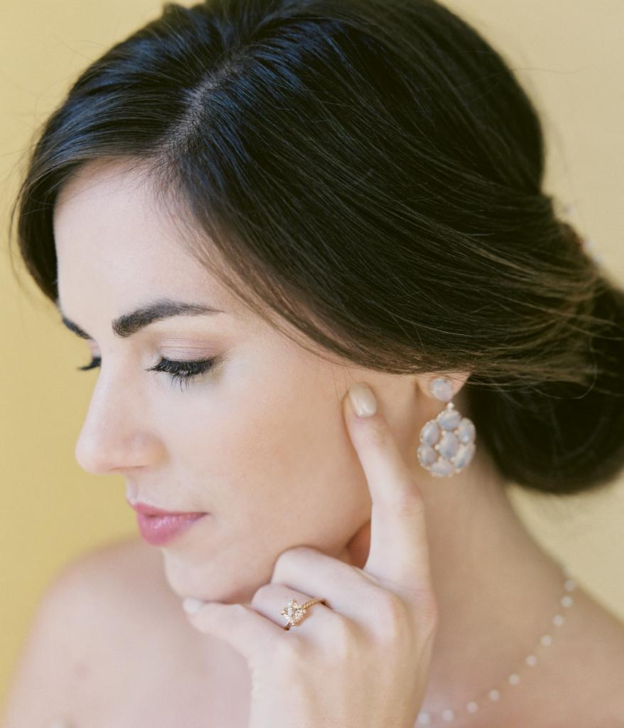 "David Yurman's ""Châtelain"" ring from REEDS Jewelers. Chalcedony and diamond earrings from Diamonds Direct. Mizuki's pearl choker from Croghan's Jewel Box."