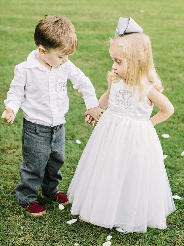 Caris and Campbell, Jennifer's niece and nephew, sported finery monogrammed by the bride's sister.