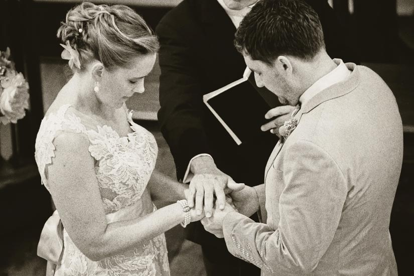 """SURE THING: """"As we said our vows, we squeezed each other's hands with all our might,"""" says Carrie."""