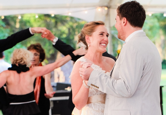 """SET THE MOOD: The first decision Carrie and Jonny made in terms of vendors? The band. They reached out to the Mighty Kicks the day after they got engaged. """"We knew they would set the tone for an amazing party, and they exceeded our expectations,"""" says the bride."""