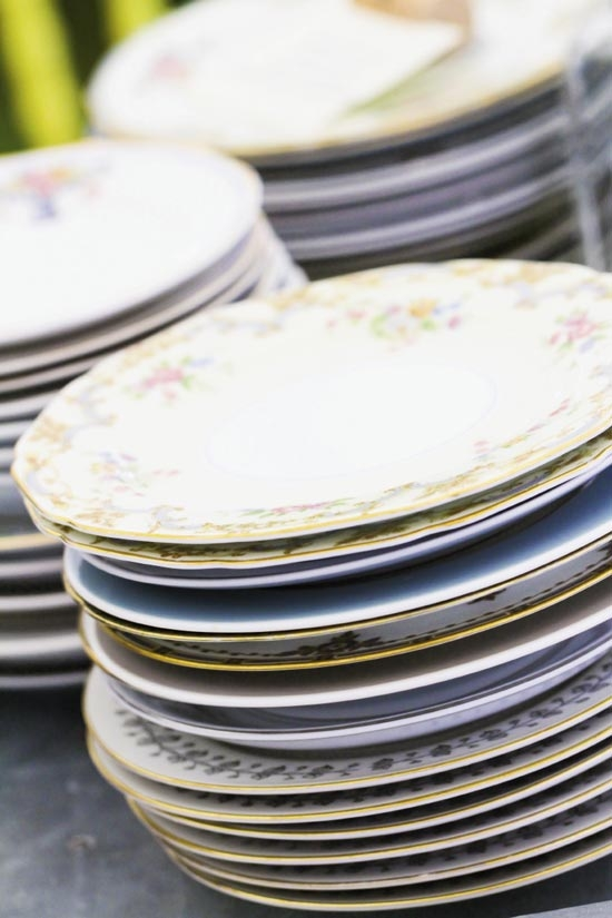 STACK 'EM HIGH: Mix-and-match patterned china lent a casual air to the reception.
