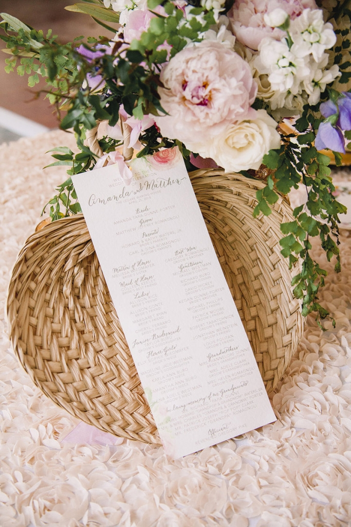 Program by Blue Glass Design. Florals by Branch Design Studio. Image by Timwill Photography.