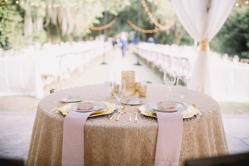 Wedding design by Sweetgrass Social Event + Design. Linens by La Tavola. Image by Timwill Photography at the Legare Waring House.