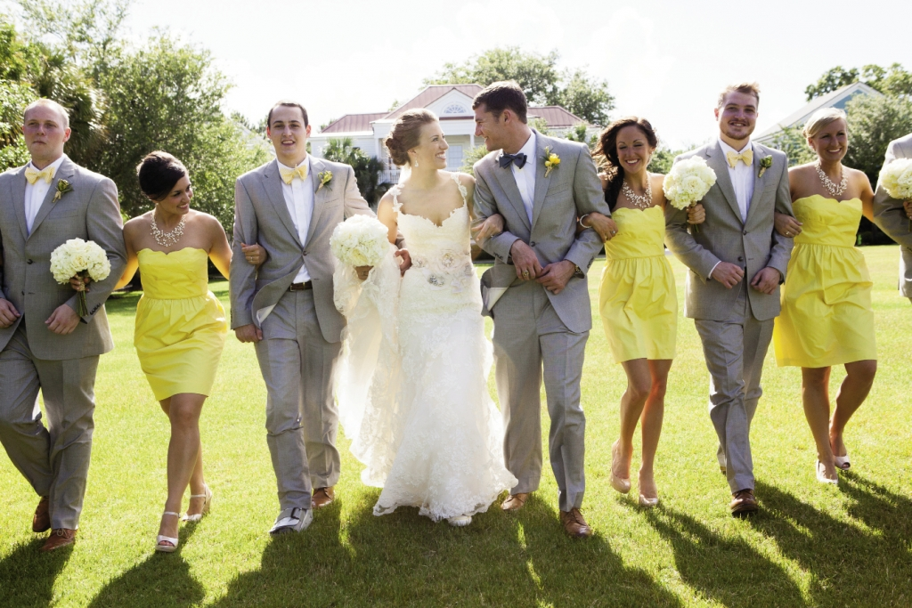 POPS OF COLOR: The bride wore Enzoani; her bridesmaids donned J.Crew.