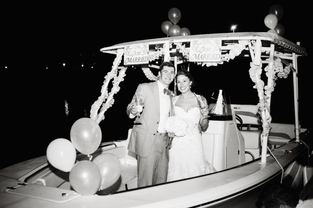 CRUISIN': The newlyweds departed their reception for a cruise around Charleston Harbor from Captains Source before hopping aboard a rickshaw for a ride down East Bay Street.