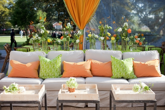 "PALETTE PIZAZZ: ""I knew there would be beautiful taupe and green tones in the setting…but I wanted to add some excitement,"" says Tyler. ""Orange has always been one of my favorite colors and I thought it would really add a punch to the party!"""