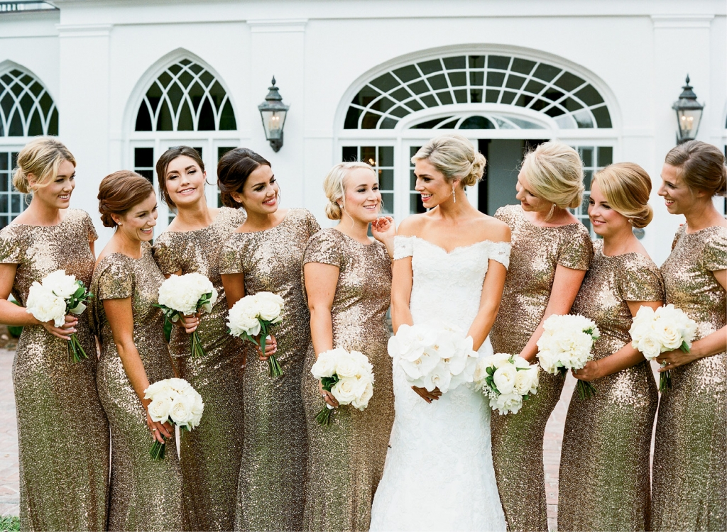 "Sequined cowl-back dresses put the ""party"" into wedding party photos.  <i>Photograph by Gayle Brooker</i>"