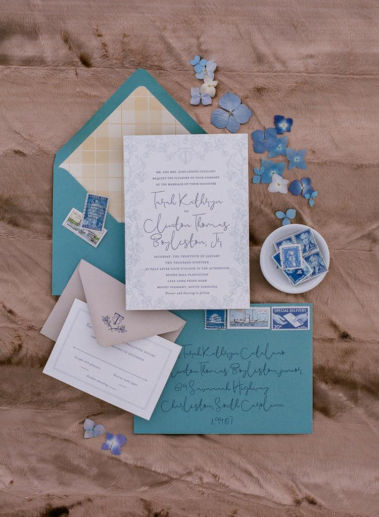 """There aren't many occasions in life that get the luxury of letterpress,"" says Tarah, who worked with SAS-E Ink to perfect the invitation suite she designed."