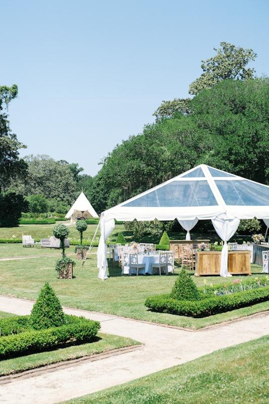 Octagonal Sunken Garden at Middleton Place. Tent by Sperry Tents Southeast. Photograph by Marni Rothschild Pictures.