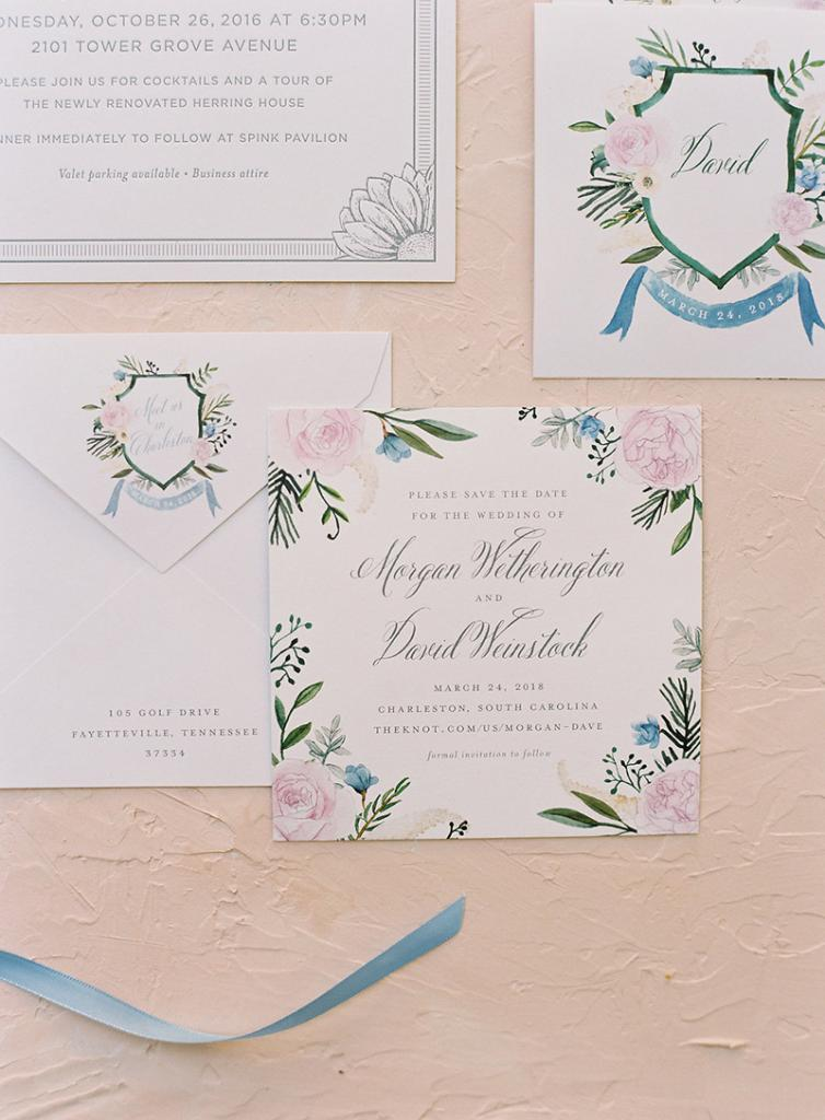 The couple commissioned a watercolored crest from Cheree Berry Paper, which became the guidepost for much of the wedding, from the invitations to its colorful palette and more.