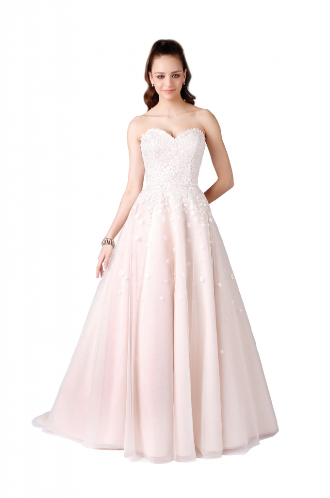 "TREND: Pink, pink, pink! GOWN: Modern Trousseau's ""Cora,"" available through Modern Trousseau flagship stores in Charleston, Savannah, and Nashville. Note: Modern Trousseau has a whole crop of new pink frocks. Check out their site for the latest."