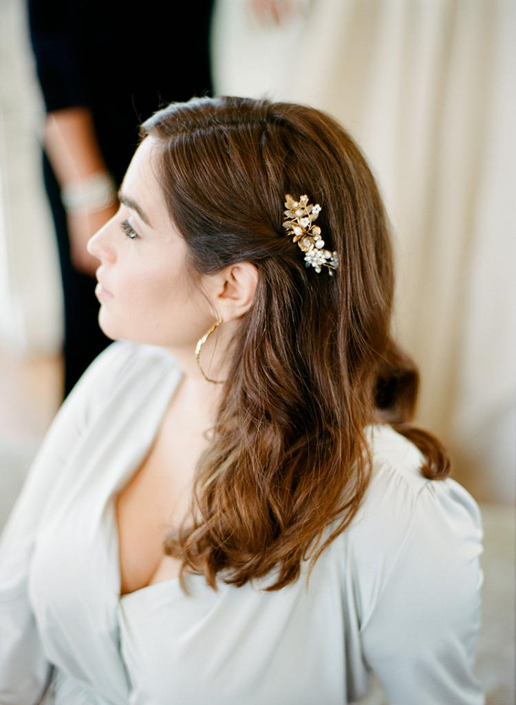 "Jessica Murnane in TwoBirds Party Collection's  ""Margaux"" dress from Bella Bridesmaids. Emma Katzka's ""Rachel"" hair comb from Lovely Bride. Gold Christina Jervey earrings from Gwynn's of Mount  Pleasant."