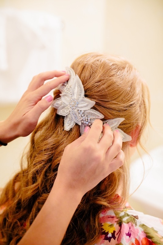 Hair piece by Untamed Petals by Amanda Judge. Hair by Willow Salon. Image by Dana Cubbage Weddings.