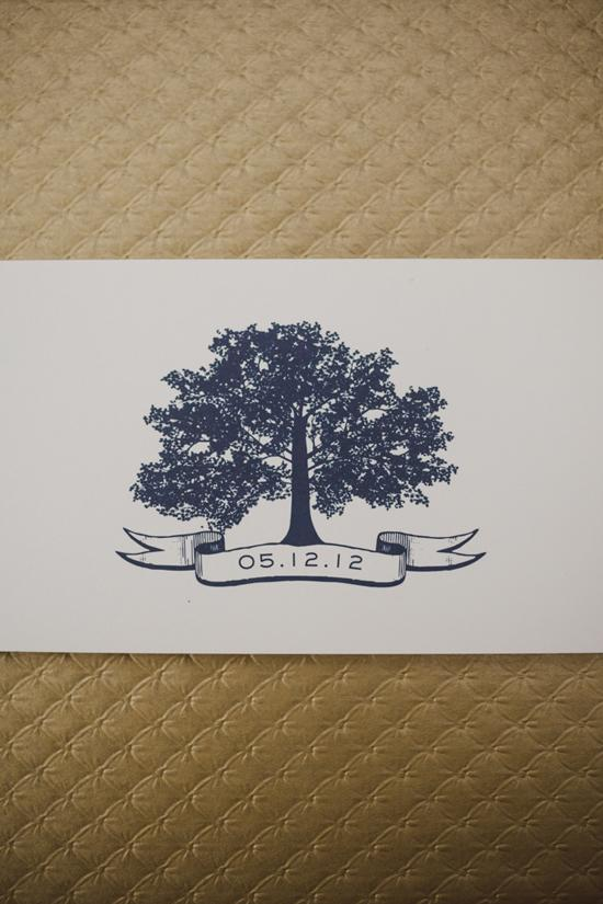 BRANCHING OUT: Cheree Berry's tree motif was carried throughout the wedding's paper goods.