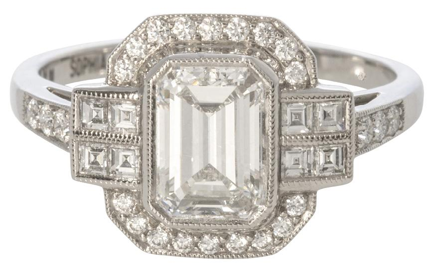 Emerald-cut center diamond (1.08 cts.) with diamond accents (.36 total cts.) set in platinum from Croghan's Jewel Box ($15,000)