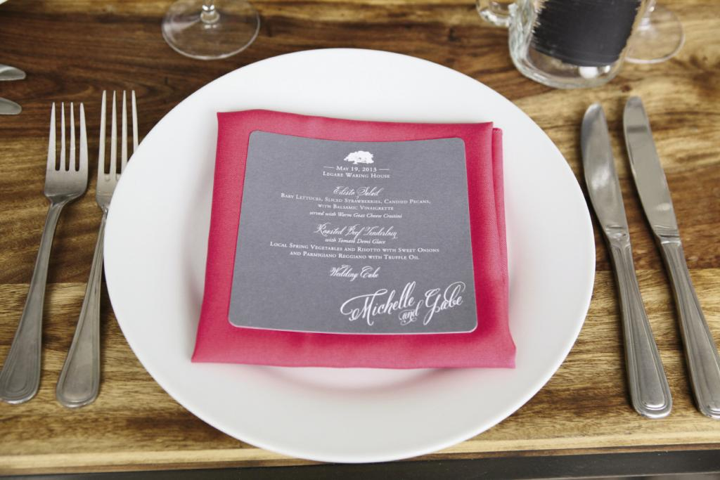 "SHADES OF GREY: ""Hot"" pink linens were offset with cool tones, like graphite-colored menus."