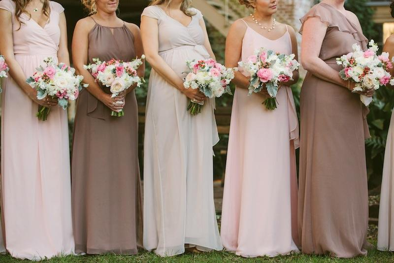 Bridesmaid dresses by Joanna August from Bella Bridesmaids. Bouquets by Branch Design Studio. Image by Juliet Elizabeth Photography.