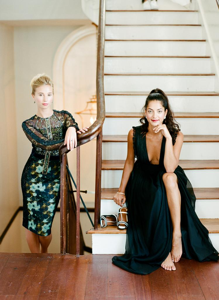 "Kinsey Fitzwater in Byron Lars dress from Out of Hand. Earrings from Gold Creations. Ring from Diamonds Direct. // Alysha Duff in Monique Lhuillier's ""Lily"" gown from Bella Bridesmaids. Earrings and bracelet from Diamonds Direct. Malone Souliers by Ray Lunoolt heels from RTW."