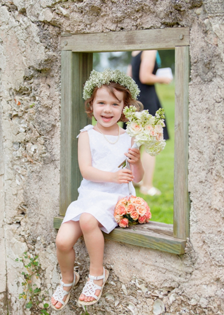 Flower girl dress from Janie and Jack. Florals by HB Stems. Image by Elisabeth Millay Photography at the Spring Island Tabby Ruins.