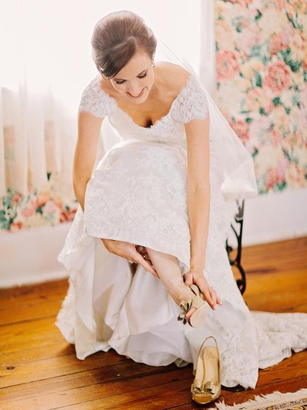 Bridal gown by Allure Bridals, available in Charleston through Bridals by Jodi. Shoes by Kate Spade. Image by Amy Arrington Photography at Old Wide Awake Plantation.