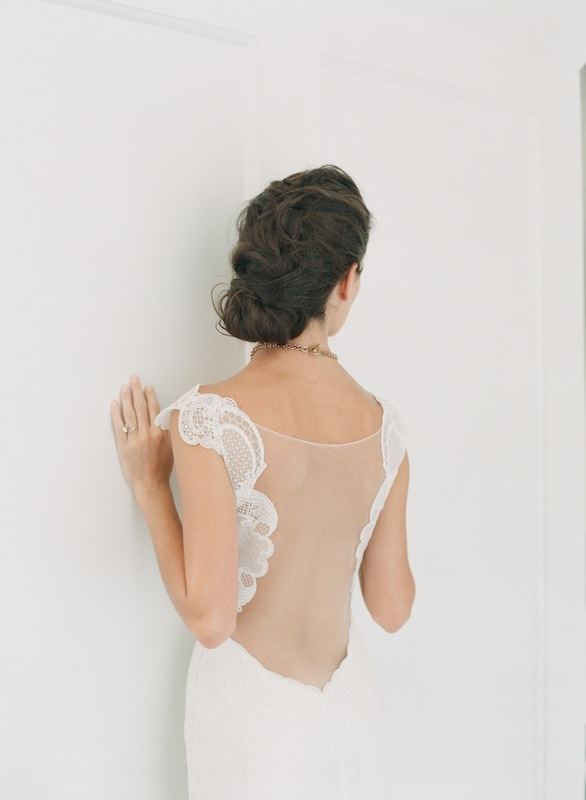 Watters' gown with illusion neckline and back with baroque lace from Jean's Bridal. Image by Corbin Gurkin.