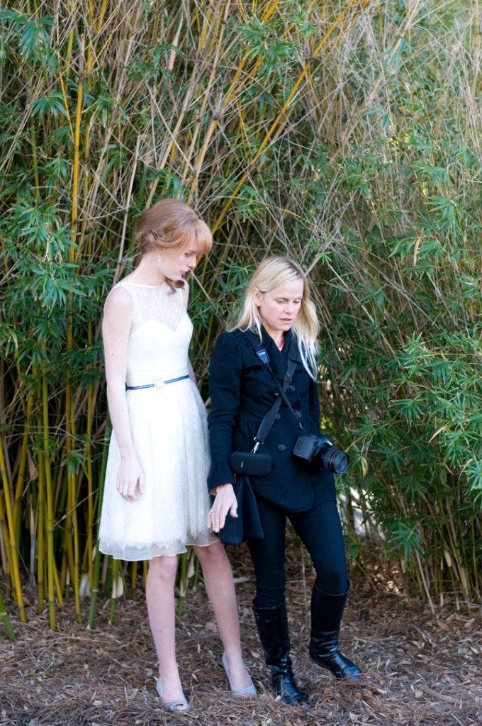 Stomping bugs? Voguing? Juliet shows Chelsea what she's looking for in the way of posing for this bamboo thicket shot. We ended up calling this image our Taylor Swift photo. Photograph by Taylor Horton