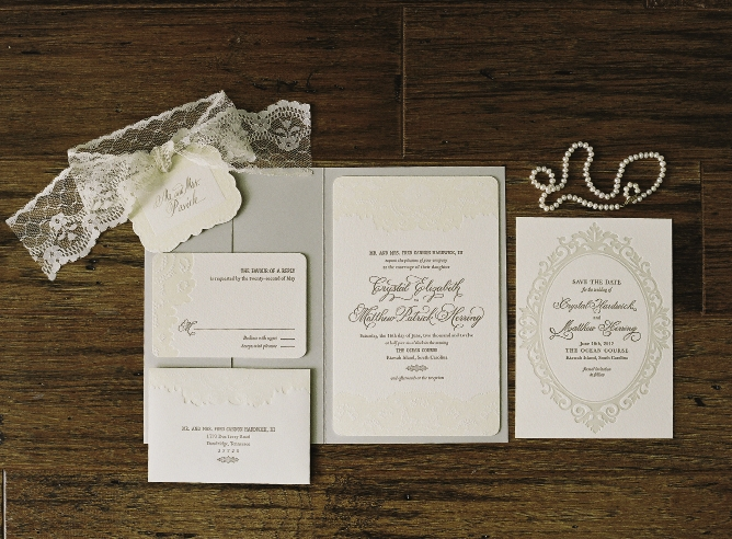 SOMETHING OLD: Lettered Olive incorporated the lace pattern from Crystal's mother's veil into the stationery suite.