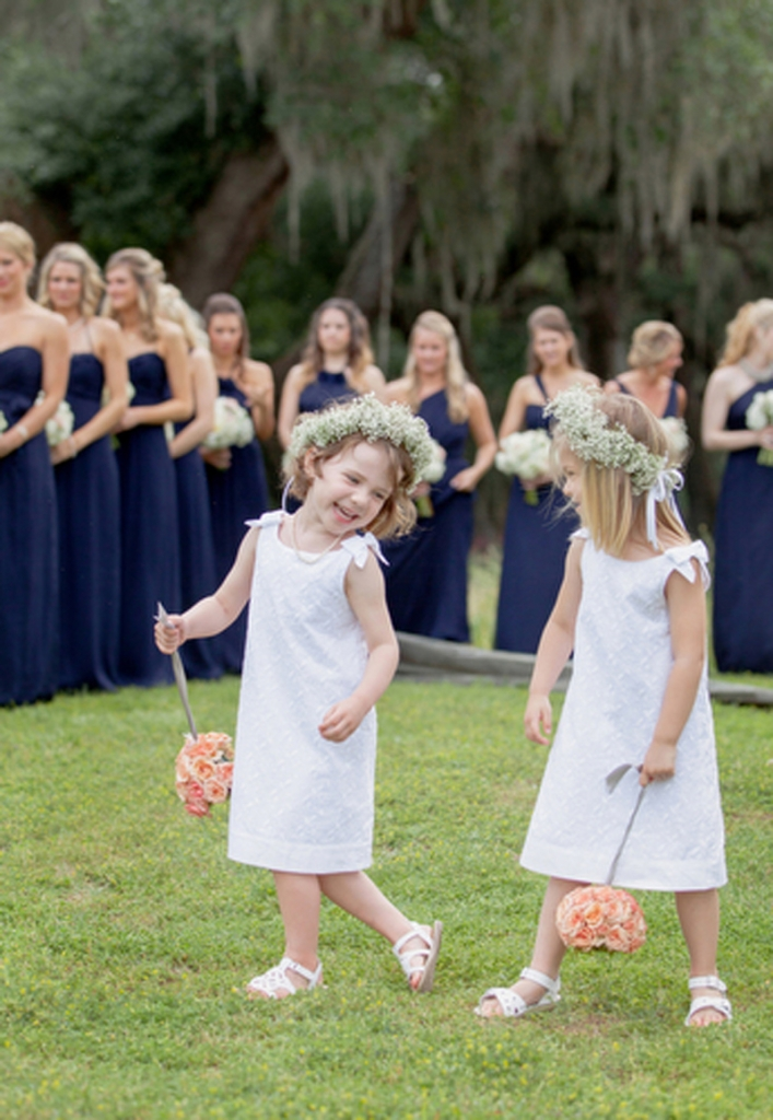 Flower girl dresses from Janie and Jack. Florals by HB Stems. Bridesmaid dresses by Amsale from Bella Bridesmaids. Image by Elisabeth Millay Photography.