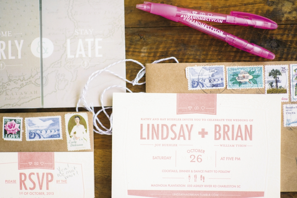 PAPER BOY: Brian, an art  director at a marketing company, took the lead on everything from save-the-dates to escort cards, favors, and thank-you notes. For her part, Lindsay tracked down scores of vintage stamps from NewEgg.com.