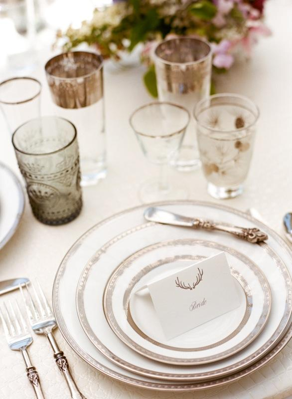 Florals by Out of the Garden. Place settings and crystal from Polished. Place card by Ancesserie. Photograph by Marni Rothschild Pictures.