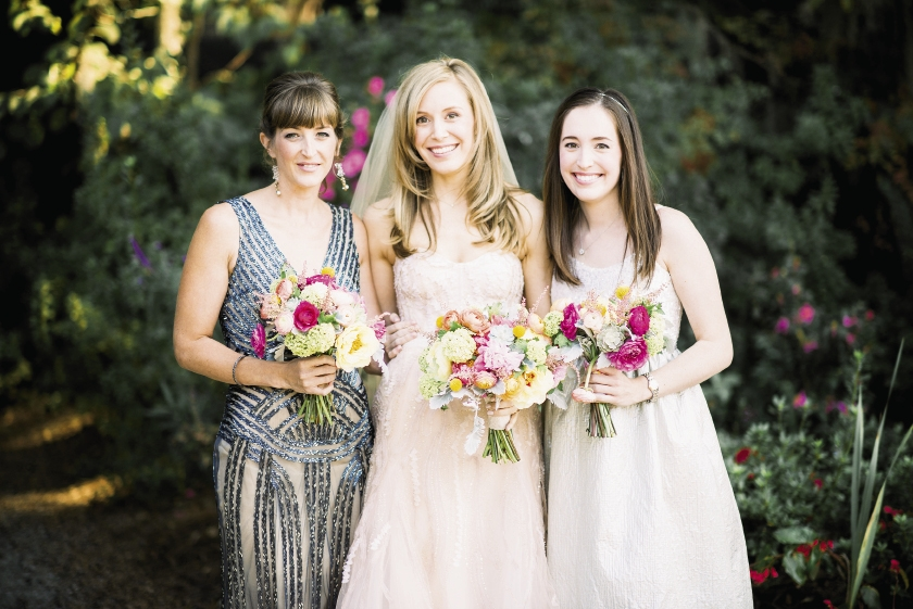 SISTER, SISTER: The best woman, Brian's sister Jeannine, donned a gunmetal-hued beaded 1920s style gown by Alice + Olivia, while the maid of honor, Lindsay's sister Kathleen, wore a shimmering Basix Black Label frock.