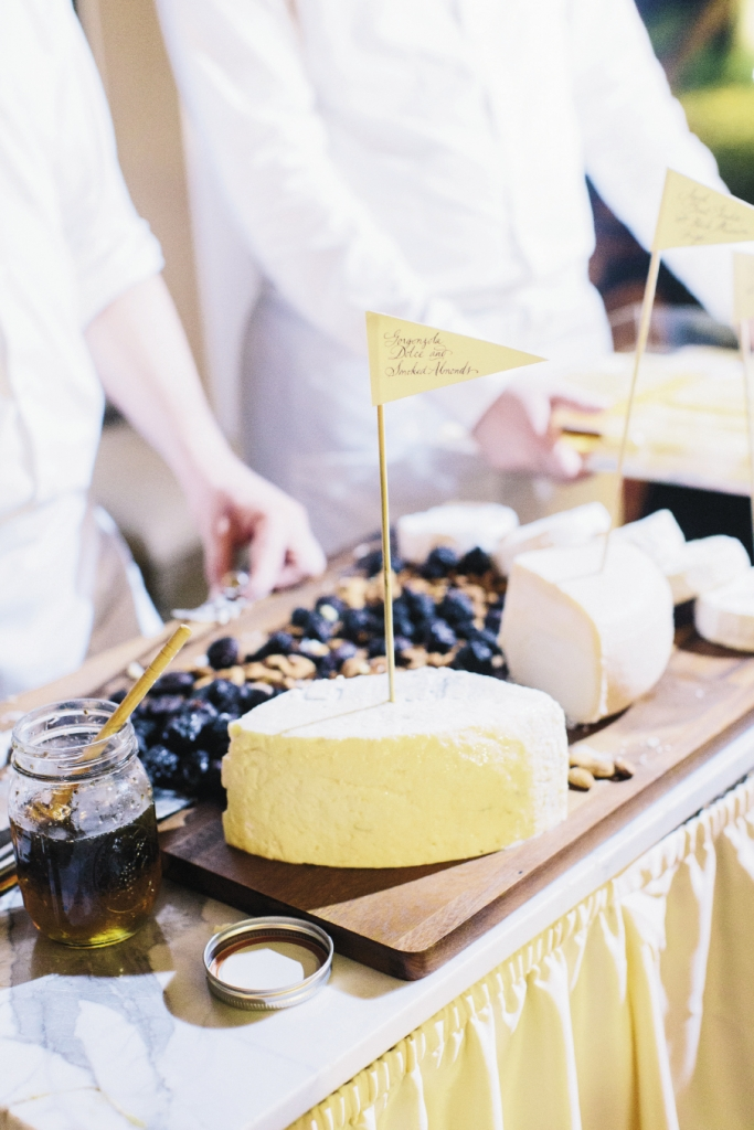 Guests snacked from a classic cheese board, part of Tristan Events' elaborate offerings.