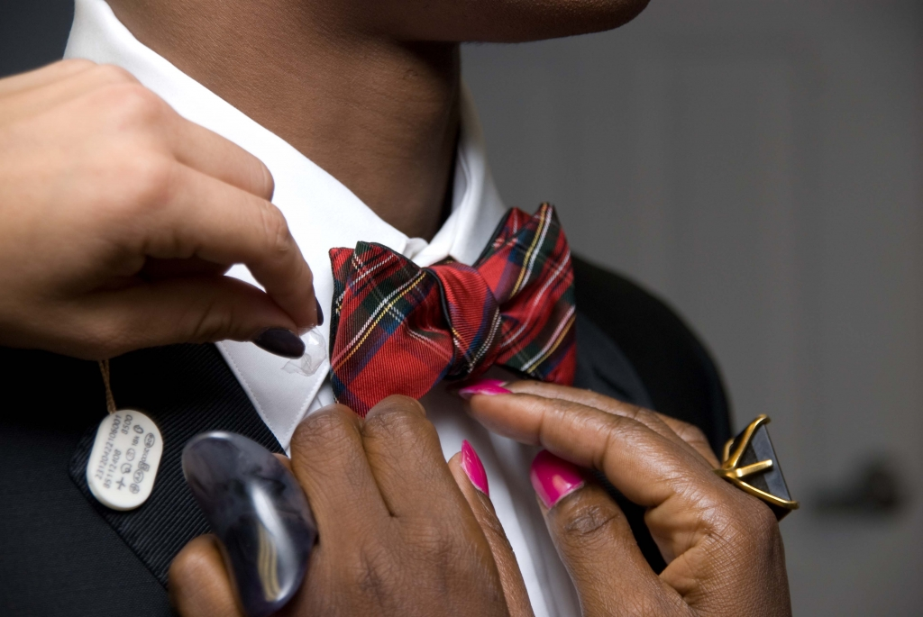 Charleston's own K. Cooper Ray designs a line of bow ties under the label Social Primer for Brooks Brothers, and this plaid number suited our Brooks Brothers tux perfectly.
