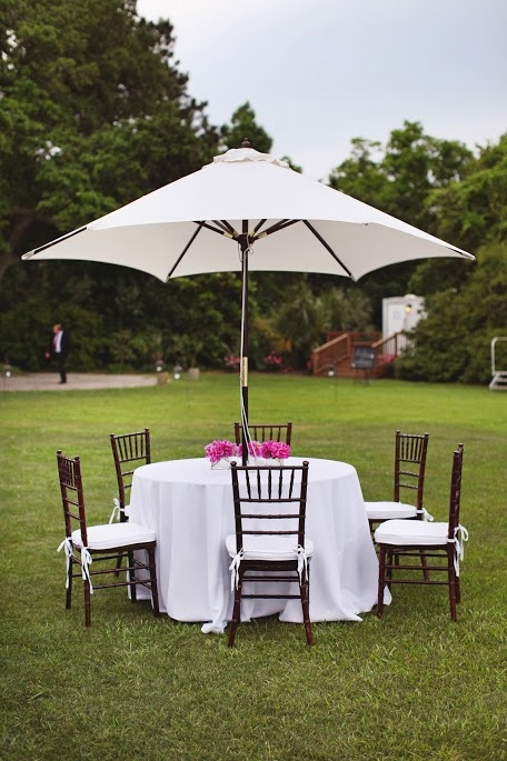 COVER UP: Patio umbrellas lent shade to outdoor seating and added to the backyard bash vibe of the Big Day.