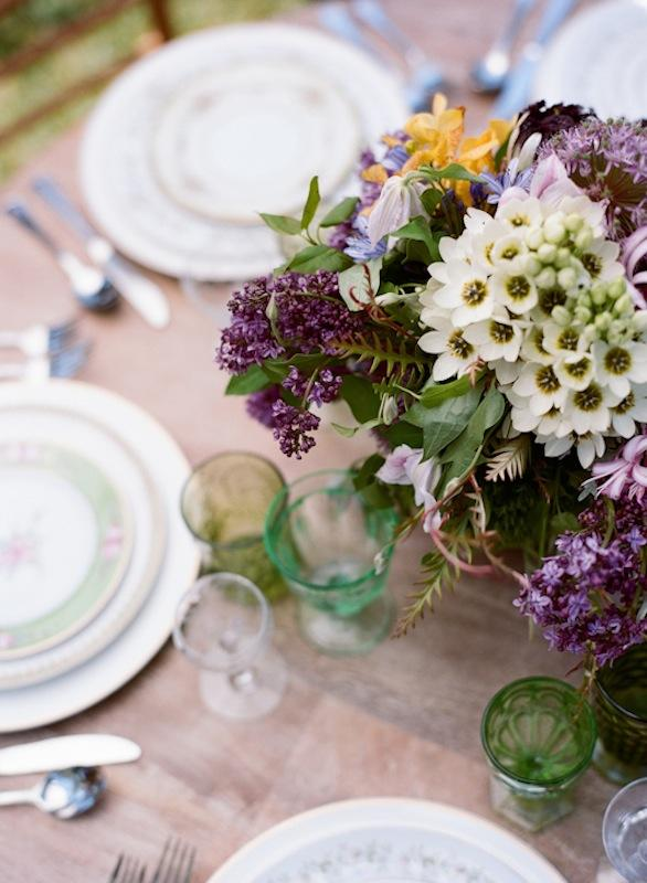 Florals by Out of the Garden. Place settings and crystal from Polished. Photograph by Marni Rothschild Pictures.