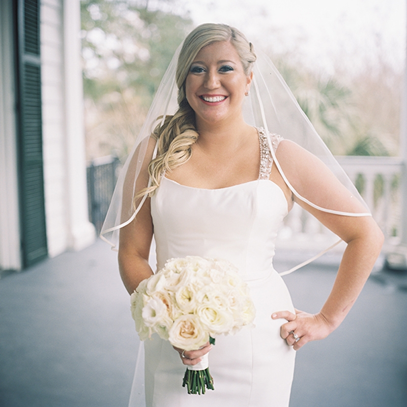 Bride's gown by Amsale from White on Daniel Island. Beauty by Paloosh Salon. Florals by Jonie Larosee of A Charleston Bride. Image by Virgil Bunao Photography at Lowndes Grove Plantation.