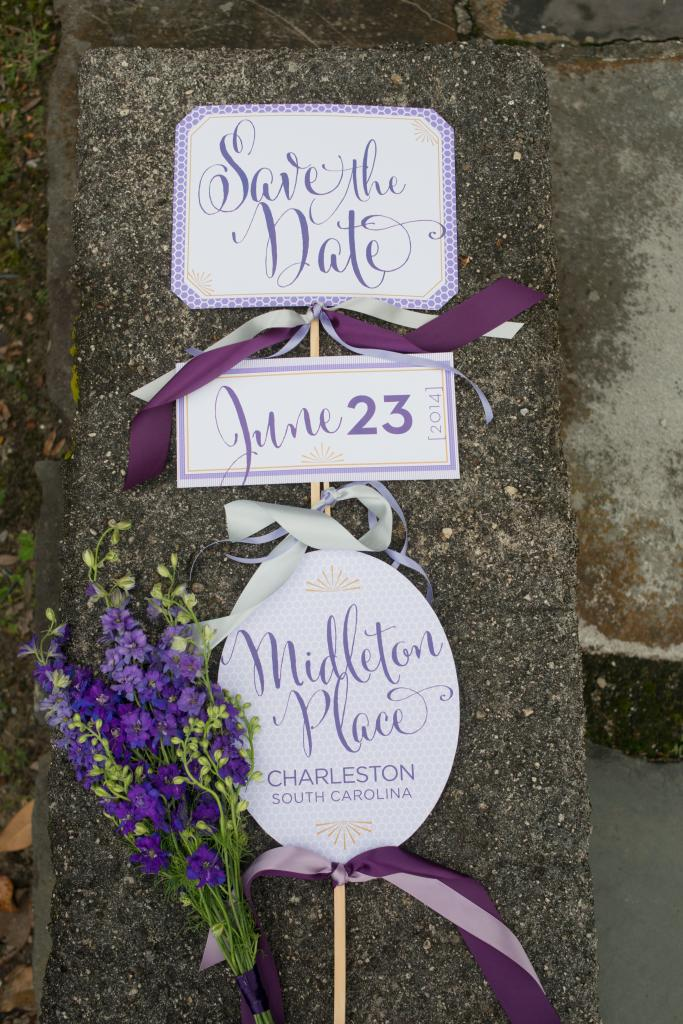 Signage by Studio R. Flowers by Tiger Lily Weddings. Photograph by Leigh Webber at Middleton Place.