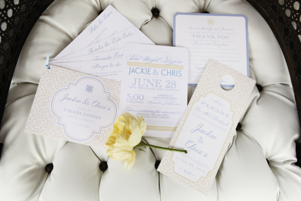 """INSPIRED DESIGN: Sarah Reed of Dodeline Design created a 10-piece suite of paper goods for Jackie Kershis and Chris Morse, including this guide, rehearsal dinner invitation, thank you, and """"hangover"""" door tag."""